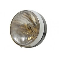 headlight round black/chrome